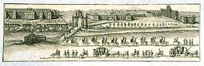 Дворцовый ансамбль в Лефортово (Зимний и Летний Анненгофы) во время коронации Елизаветы Петровны 1742 г., фрагмент гравюры.